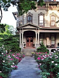 Historic Victorian home. Note the statue on the front porch.