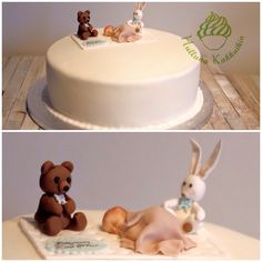 Christening cake and Sugarpaste Cake topper Teddy and Bunny with a sleeping baby