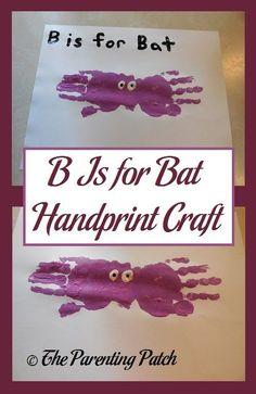 B Is for Bat Handprint Craft
