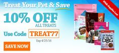 Take 10% off All Treats Expires 04/25/16 Use offer code TREAT77 http://www.allivet.com/