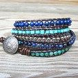 Shining Seas - leather 5-wrap bracelet blue turquoise silver beads | TOWNOFBEADROCK - Jewelry on ArtFire