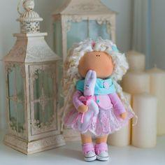 Curly doll tilda doll Art doll handmade by AnnKirillartPlace