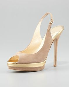 Frosting Suede Peep-Toe Pump, Nude by Jimmy Choo at Neiman Marcus.