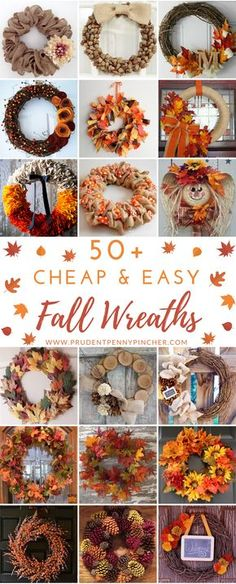 Easy Fall Wreaths, Diy Fall Wreath, How To Make Wreaths, Holiday Wreaths, Cheap Wreaths, Wreath Ideas, Wreath Burlap, Autumn Crafts, Holiday Crafts