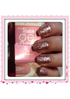 The light hit the name of the color. Pinkies up! 430 Sally Hansen gel strips. Easy to apply and quick drying. The actual color is a lot more sparkly than the picture shown on the box. I still like it. :)