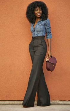 Denim button up and casual flare bottoms