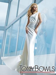 Elegant one shoulder wedding dress wedding dressses, toni bowl, woman fashion, dresses, wedding dress styles, tony bowls, hous, gown, bride