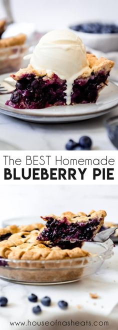 Deliciously sweet and juicy with a buttery, flaky crust, nothing quite compares to a classic Homemade Blueberry Pie! It's the ultimate summer dessert with plump, fresh or frozen blueberries for an easy blueberry pie filling and my perfect pie crust that wins every time! #pie #blueberries #blueberrypie #best #recipe #easy #fresh #frozen #fromscratch #homemade Blueberry Pie Recipe With Frozen Blueberries, Frozen Blueberry Recipes, Homemade Blueberry Pie, Homemade Pie, Classic Blueberry Pie Recipe, Easy Blueberry Desserts, Blueberry Tarts, Fresh Blueberry Pie, Eggless Desserts