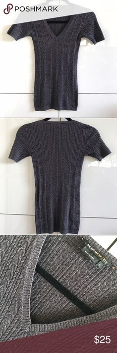 Like New BCBG Max Azria V-Neck Pullover Knit Like New BCBG Max Azria V-Neck Pullover Knit.  Flawless shape.  Size Small.  Rayon/nylon.  Great basic.  Depending on lighting, color appears in gradations of eggplant, brown and grey. BCBGMaxAzria Sweaters V-Necks