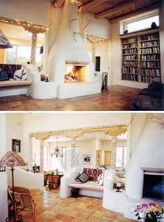 Earthship Fireplace wall dividing kitchen and living room Mais Maison Earthship, Earthship Home, Cob Building, Building A House, Green Building, Adobe Haus, Mud House, Tadelakt, Natural Homes