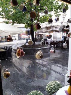 From the window of the restaurant Kolarac in Knez Mihailo street , Belgrade Belgrade Serbia, Window Shopping, Capital City, Restaurant, Windows, Table Decorations, Street, Heart, Places