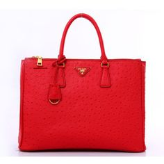 Prada Bag in Ostrich Leather Embossed Red BN1786