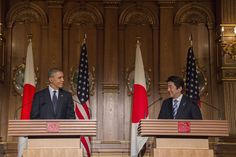 US President Barack Obama (L) and Japanese Prime Minister Shinzo Abe speak during a bilateral press conference at the Akasaka Palace in Tokyo on April 24, 2014.-WSJ.com