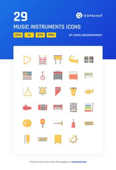 Music Instruments  Icon Pack - 29 Flat Icons