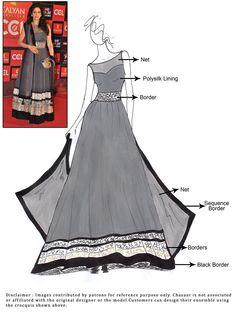 Sridevi Grey Net Floor Length Anarakli Suit