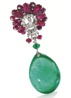 Platinum, Carved Ruby and Diamond Brooch, Cartier, London, With an Emerald Pendant, circa 1935.