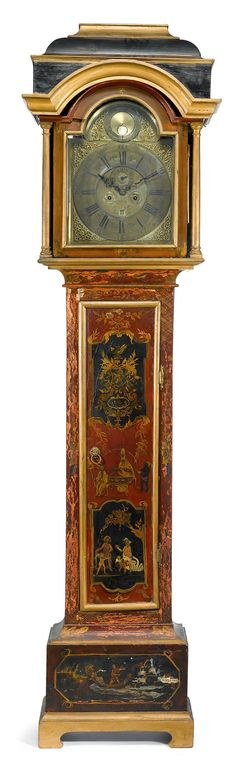 George II Japanned tall case clock mid 18th century, dial signed john brown, Liverpool