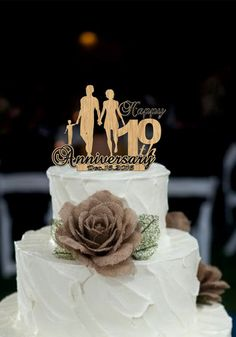 10 th Anniversary Cake Topper Personalized - Rustic Wedding Cake Topper, 10 th Years Loved Anniversary Cake Topper