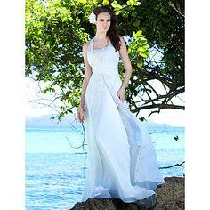 Sheath/Column Straps Sweep / Brush Train Chiffon Wedding Dress – USD $ 249.99