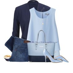 Shades of Blue by stay-at-home-mom on Polyvore featuring Uniqlo, maurices, Levi's, Salvatore Ferragamo, MICHAEL Michael Kors, Tuleste, Blue Nile, Blue, michaelkors and pearls