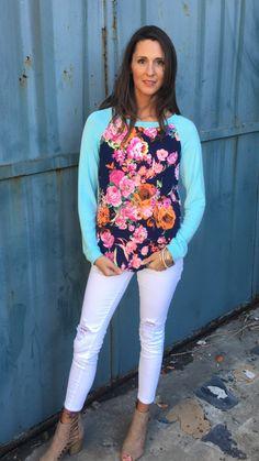 Aqua Blue Floral Top