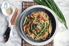 Stir-Fried Pork Teriyaki - with Chow Mein Noodles and Asparagus Chow Mein, Chow Chow, Fried Pork, Japchae, Green Beans, Make It Simple, Meals, Fresh, Asparagus