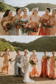 Mismatched bridesmaid dresses on orange tones paired with tropical boho bouquets | Bridal party beach photo with a bride wearing a long sleeves bohemian wedding dress | Tropical Destination Wedding in Costa Rica | Watch Nicole and Cameron wedding video by Lucas Weddings on Love Stories TV Elopement Party, Elopement Dress, Wedding Dress, Mismatched Bridesmaid Dresses, Bridesmaids And Groomsmen, Destination Wedding Welcome Bag, Destination Weddings, Handmade Wedding Favours, Bridesmaid Inspiration