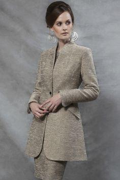 Rib Tweed Jacket in Gold and Black - Mia