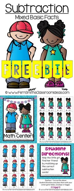 Quick and Easy to Prep Mixed Subtraction Basic Facts Center with a Cute Back to School Student Theme #Free #TPT