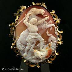 """Rarest huge Museum quality high-relief caved cameo brooch of """"St. George and Dragon"""""""