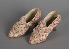 1775 Shoes. Media: Silk brocade, leather, linen...