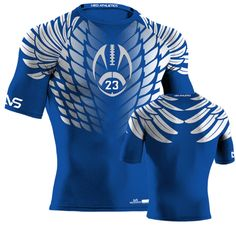Hawk Style Compression Shirt - Royal Flag Football, Custom Football, Football Jerseys, Athletic Outfits, Sport Outfits, Athletic Clothes, Rugby Jersey Design, Sport T-shirts, Badminton