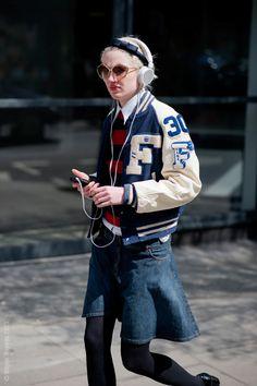 varsity jacket & denim skirt