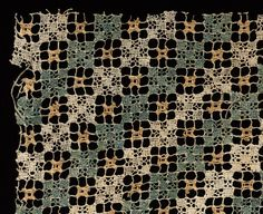 Fragment with Abstract Pattern Italy, 16th-17th century dyed linen and bleached linen; needle lace, knotted (filet) and darned in two directions