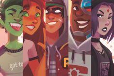 Teen Titans dc comics fan art watercolor sketch // beast boy starfire Robin cyborg Raven