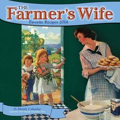 The Farmer's Wife Favorite Recipes Wall Calendar: The Farmer's Wife, a monthly magazine published between 1893 and 1939, provided a sense of community among hard-working rural women. In this beautiful sixteen-month calendar, some of the best recipes from the Farmer's Wife have been collected and arranged by seasonal appeal. http://www.calendars.com/Food-Art/The-Farmers-Wife-Favorite-Recipes-2014-Wall-Calendar/prod201400002445/?categoryId=cat560004=cat560004