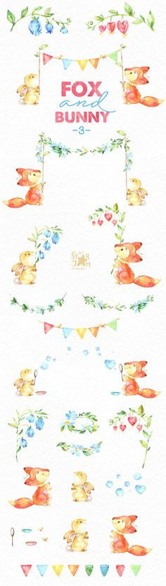 This part 3 of Cute Fox and Bunny set is just what you needed for the perfect invitations, craft projects, paper products, party decorations, printable, greetings cards, posters, stationery, scrapbooking, stickers, t-shirts, baby clothes, web designs and much more. :::::: DETAILS :::::: This collection includes - 43 Images in separate PNG files, transparent background, different size approx.: 15-2in (4500-600px) 300 dpi, RGB See all sets with fox and bunny: https://www.etsy.com&...
