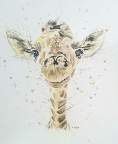 Baby giraffe painting in watercolour splash style. Portrait Acrylic, Watercolor Portraits, Portrait Art, Pet Portraits, Traditional Photographs, Videos Kawaii, Dibujos Tumblr A Color, Videos Anime, Giraffe Painting