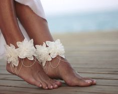 Autumn flowers beach wedding barefoot sandalnude by FULYAK on Etsy