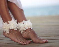 Autumn flowers beach wedding barefoot sandalnude by FULYAK on Etsy