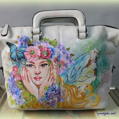 Custom-made for Dra. Cristina Senerpida. #handpaintedbag #artbag #custombag #personalizedbag #ncatigbemd #fairies #bloom #floral
