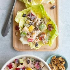 The lemon juice gives this easy Waldorf salad quite a zip and the apples and nuts offer a nice crunch. It's light, refreshing and effortless to assemble. —Chuck Hinz, Parma, Ohio Fruit Recipes, Salad Recipes, Cooking Recipes, Grandma's Recipes, Apple Recipes, Copycat Recipes, Healthy Recipes, Dessert Salads, Dinner Salads