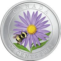 2012 Aster with Bumble Bee Colored Commemorative Quarter Mintage, Photos, Specifications, and Where to Buy