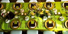 Lime Green & Chocolate Brown with Gold accents Place Settings, Table Settings, Entertainment Table, Wedding Decorations, Table Decorations, A Table, Entertaining, Chocolate Brown, Gold Accents