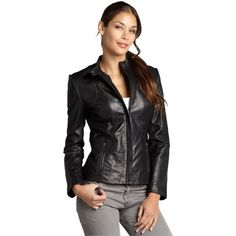 Pre-owned Dkny Leather Stitched Motorcycle Motorcycle Jacket ($160) ❤ liked on Polyvore featuring outerwear, jackets, black, rider jacket, dkny jackets, leather biker jacket, zipper jacket and stitch jacket