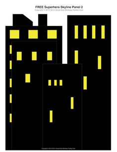 Free #Superhero Printables - Superhero building skyline, 4 different panels plus 2 Bat Signals in the sky.  Great decorations for cake table and party area.  Free download.
