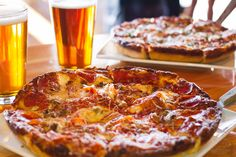 Raj Crusted Deep Dish Pizzas. Available on Sundays at Four Peaks Grill & Tap in Scottsdale. #yum #pizzaporn #beerme