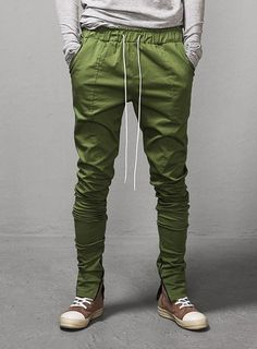 "Ankle Zipped Drawstring Trouser 2 - Stretch Twill Ver - 36"" $49.50  #mensfashion #men #fashion #style #street #fearofgod #trouser #pants #khaki #green #black #zip"