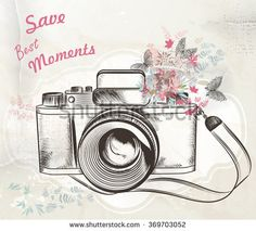 Illustration with vintage hand drawn camera flowers and butterflies save best…