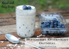 Blueberry Overnight Oatmeal Recipe, Quick and easy healthy meal ideas #Oatmeal, #Blueberry, Greek Yogurt Recipes